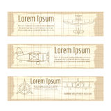 Vintage banners set with planes structure Royalty Free Stock Images