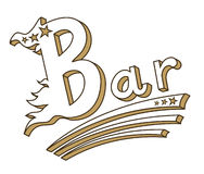Vintage bar sign. Isolated emblem for bar of cafe sign in style of 70's Royalty Free Stock Image