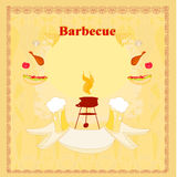 Vintage  Barbecue Party Invitation Stock Image