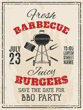 Vintage barbecue party invitation Royalty Free Stock Images