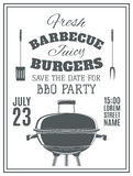 Vintage barbecue party invitation Stock Photos
