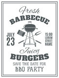 Vintage barbecue party invitation Stock Photo