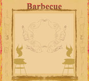 Vintage Barbecue Party Invitation. Illustration Royalty Free Stock Images