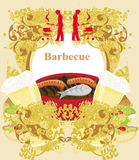 Vintage Barbecue Party Invitation Stock Images