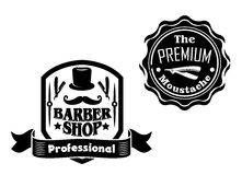 Vintage barber shop designs set Royalty Free Stock Photo