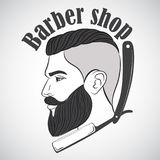 Vintage barber shop emblem, label, badge, logo. Man with beard, hipster. Vector illustration stock illustration