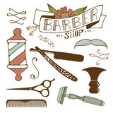Vintage barber shop objects collection Stock Images