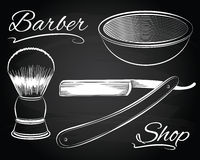 Vintage barber shop, shaving, straight razor Royalty Free Stock Images