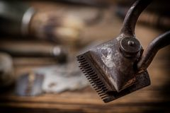 Vintage barber shop tools royalty free stock image