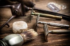Vintage barber shop tools royalty free stock images