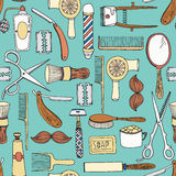 Vintage barber shop vector seamless pattern Stock Images