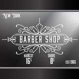 Vintage barber shop window advertising template. Royalty Free Stock Images