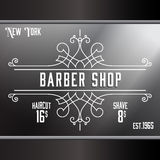 Vintage barber shop window advertising template. Stock Photo