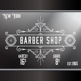 Vintage barber shop window advertising template. Royalty Free Stock Photo
