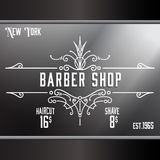 Vintage barber shop window advertising template. Royalty Free Stock Photography
