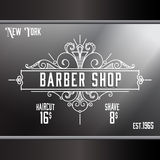 Vintage barber shop window advertising template. Stock Images