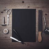 Vintage Barber Tools And Black Page Stock Photos