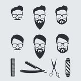 Vintage Barber Tools and Elements. Vector Illustration Drawing Royalty Free Stock Photo