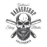 Vintage barbershop monochrome label royalty free illustration