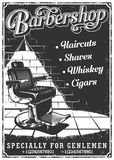 Vintage barbershop poster with barber chair. Text, and grunge texture Stock Images