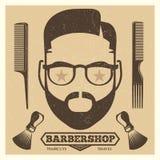 Vintage barbershop poster template. Fashion hipster print stock illustration