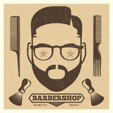 Vintage barbershop poster template. Fashion hipster print stock illustration