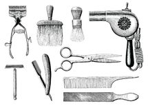 Vintage barbershop tools hand drawing engraving style stock illustration