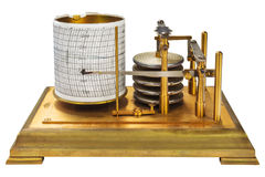 Vintage barograph isolated on white Royalty Free Stock Photo