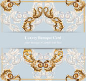 Vintage Baroque card background Vector illustrations gold and blue rich style Royalty Free Stock Photos