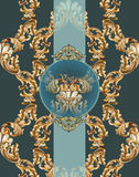 Vintage Baroque card background Vector illustrations gold and green Royalty Free Stock Image