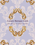 Vintage Baroque card background Vector illustrations gold and lavender colors rich style Royalty Free Stock Images