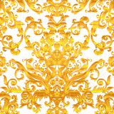 Vintage baroque floral seamless pattern in gold over white. Orna. Te vector decoration. Luxury, royal and Victorian concept. Golden element isolated on white Royalty Free Stock Photos