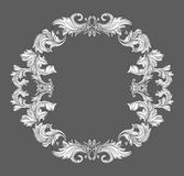 Vintage baroque frame border with leaf scroll floral ornament in line style Royalty Free Stock Photo