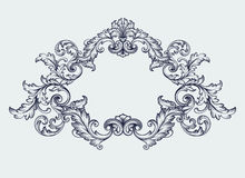 vintage Baroque frame border scroll design vector