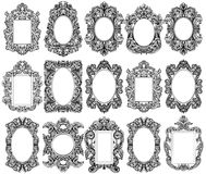 Vintage baroque frame decor set collection. Detailed ornament vector illustration Royalty Free Stock Image