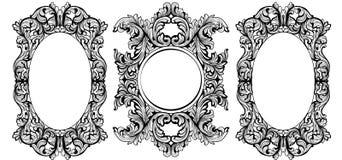 Vintage baroque frame decor set. Detailed ornament vector illustration Stock Image