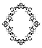 Vintage baroque frame engraving scroll ornament vector Royalty Free Stock Images