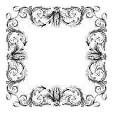 Vintage baroque frame scroll ornament. Engraving border floral retro pattern antique style acanthus foliage swirl decorative design element filigree calligraphy Royalty Free Stock Photos