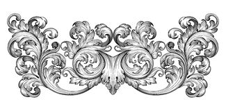 Free Vintage Baroque Frame Scroll Ornament Vector Royalty Free Stock Photos - 55912348