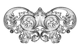 Vintage baroque frame scroll ornament vector Royalty Free Stock Image