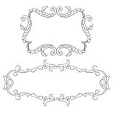 Vintage baroque frame set scroll ornament vector. Vintage baroque frame set leaf scroll floral ornament engraving border retro pattern antique style swirl stock illustration