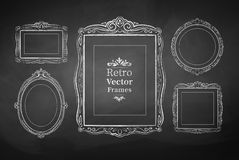 Vintage baroque frames. Vector collection of chalked vintage baroque frames Stock Image