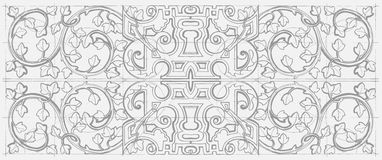 Vintage baroque geometry floral ornament. Hand drawn sketch. Stock Photography