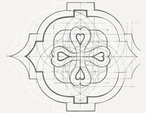 Vintage baroque geometry floral ornament. Hand drawn sketch. Stock Photo