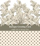 Vintage Baroque greeting card Vector. Luxury background for invitations, ceremony, events. Royal victorian texture Stock Image