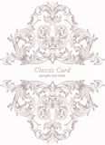Vintage Baroque Invitation card Imperial style. Vector decor background. Luxury Delicate Classic ornament. Royal Stock Image