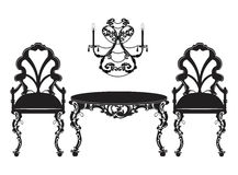 Vintage Baroque luxury ornamented furniture set Royalty Free Stock Photography