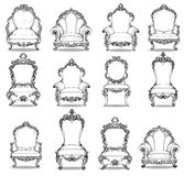 Vintage Baroque luxury style armchairs furniture set collection. French Luxury rich carved ornaments decoration. Vector. Vintage Baroque luxury style chairs Stock Photo