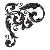 Vintage baroque ornament vector. Vintage baroque frame scroll ornament engraving border floral retro pattern antique style acanthus foliage swirl decorative Stock Photo