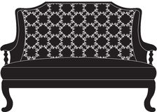 Vintage Baroque Sofa with luxurious ornaments. Elegant Baroque style furniture. Vector royalty free illustration